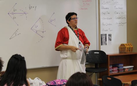 Haller uses theater costumes to sell geometry to students