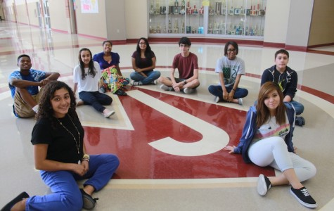 The first group of staff members of The Fuel pose in front of the Diamond J. Judson High School launched its first online newspaper during the 2014-2015 school year.