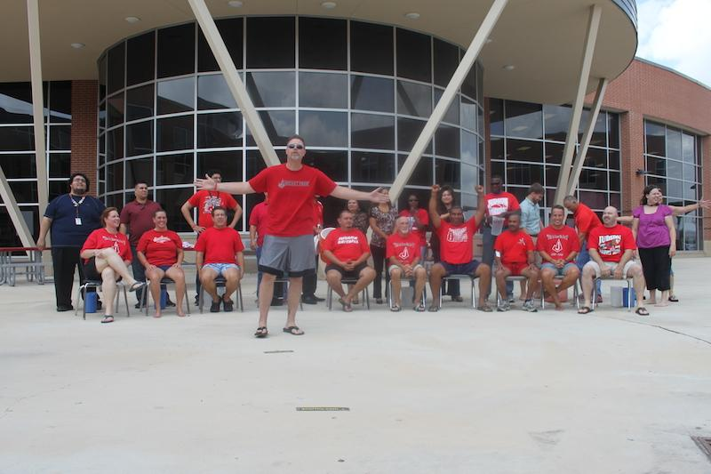 The+Judson+Administration+Team+does+the+Ice+Bucket+Challenge+in+the+courtyard+of+Judson+High+School.+The+Ice+Bucket+Challenge+has+raised+%2494+million+dollars.
