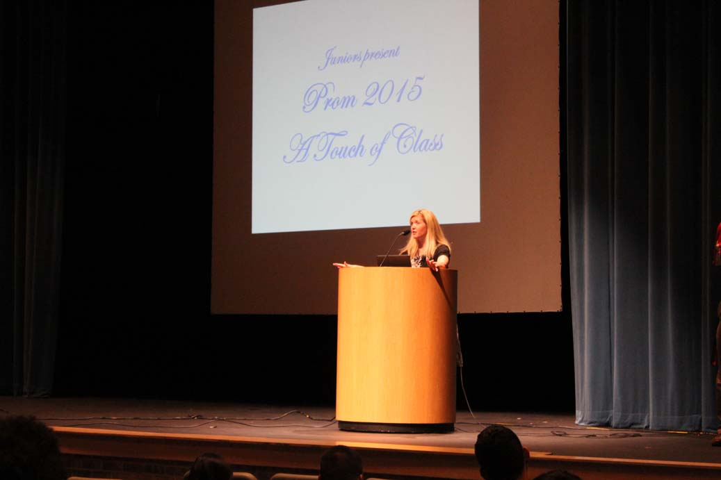 Mrs. Lauinger discusses prom, which is schedule for April 18 at Shrine Auditorium.