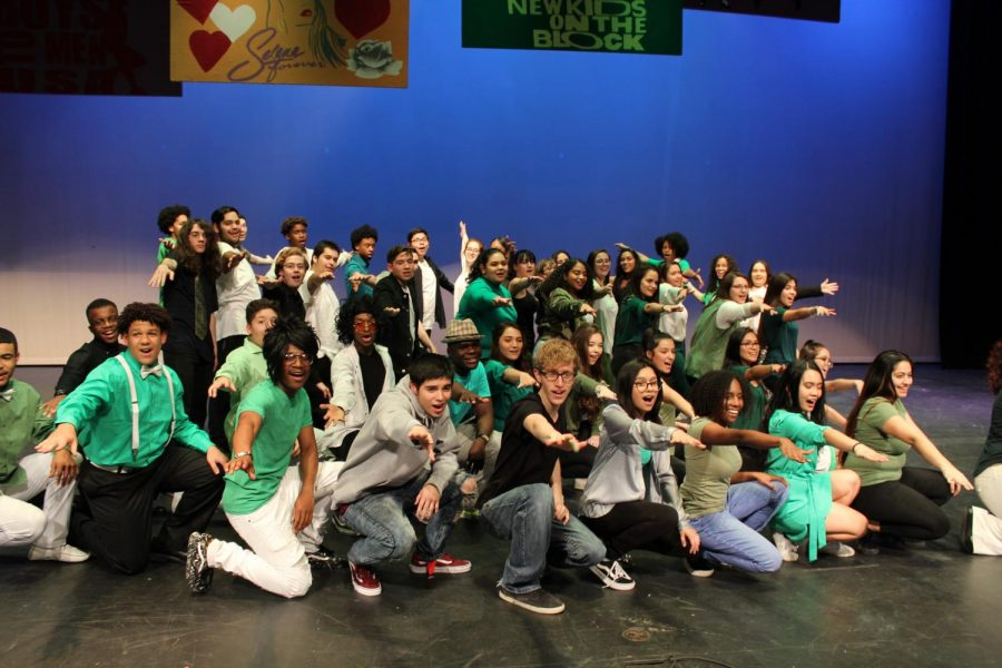 The entire choir poses at the end of Rocket Revue. This is the 36th annual event.