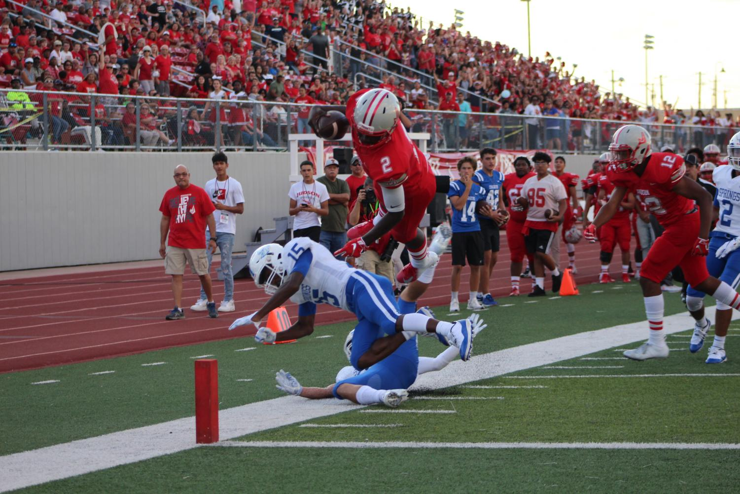 Mike Chandler dives into the end zone to score during the first quarter. The Rockets ended up winning the game, 46-28.
