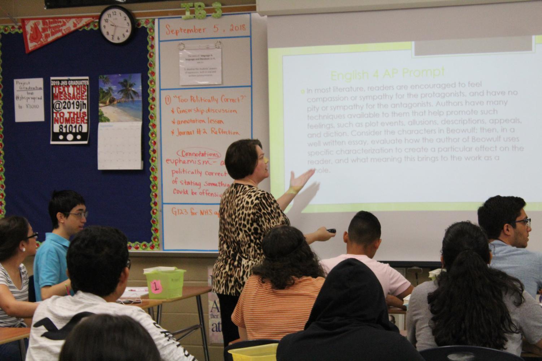 Mrs. Alexis McJilton teaches her third period, AP English 4 class. McJilton is also the IB Diploma Coordinator.