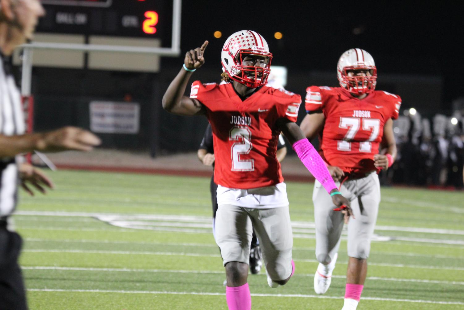 Junior Mike Chandler celebrates after a successful touchdown. Rockets took the win with a 53-3 score.