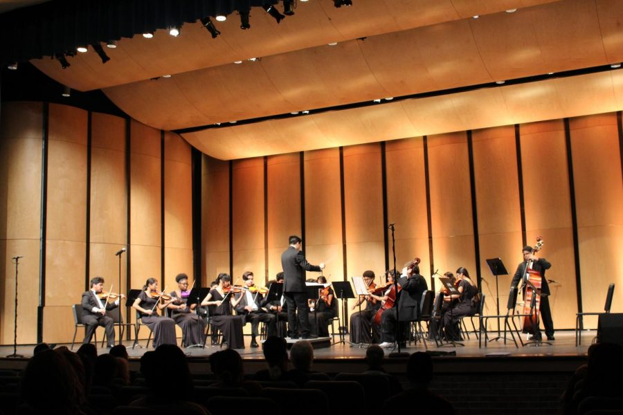 Orchestra+director+Mr.+Robert+Sabo+directes+freshman+orchestra+group.+The+orchestra+won+their+first+UIL+sweepstakes+in+a+long+time+under+Sabo%E2%80%99s+direction+last+year.+