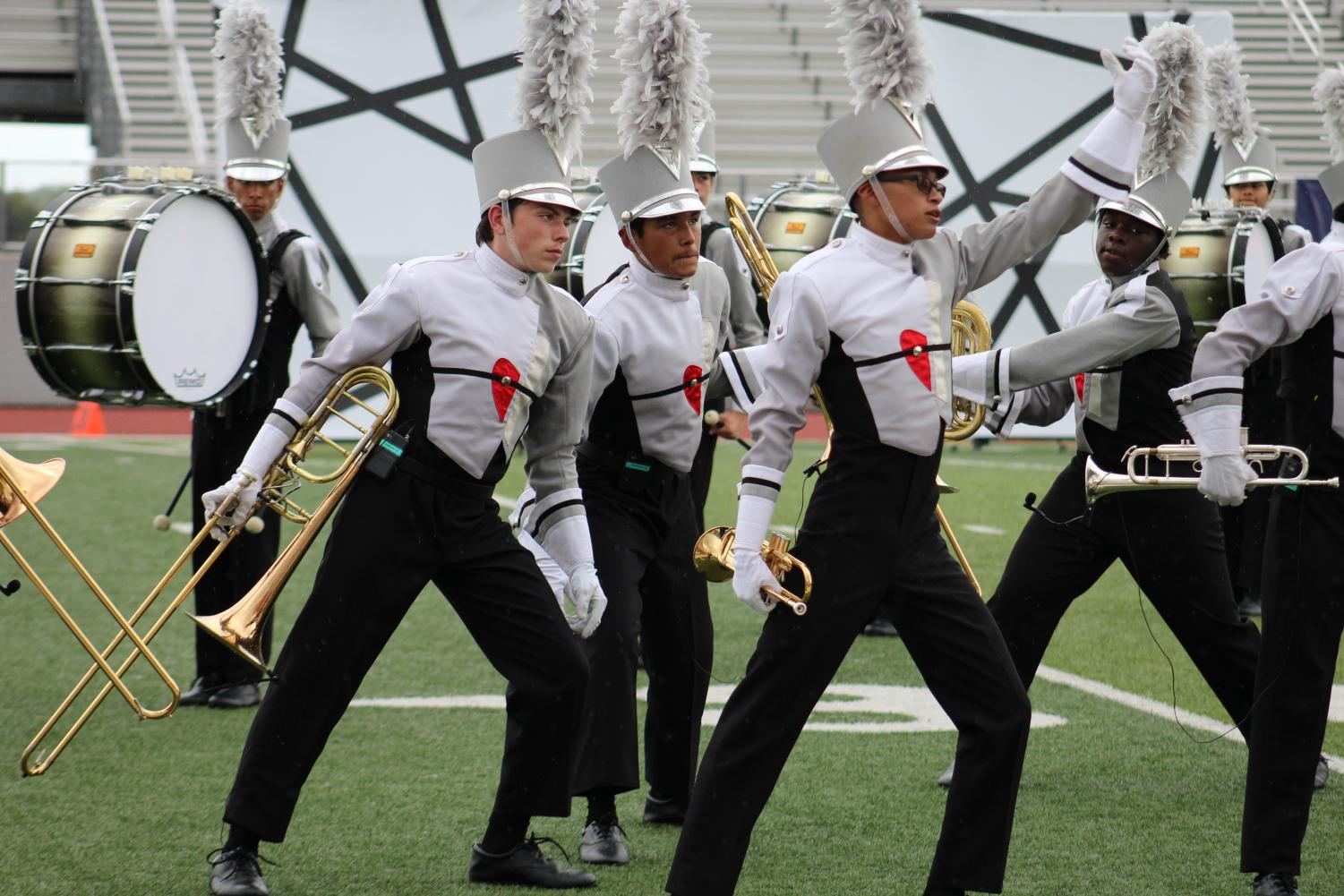 "Band marches their show ""Mosaic."" The show was much more complex than previous Judson marching shows."
