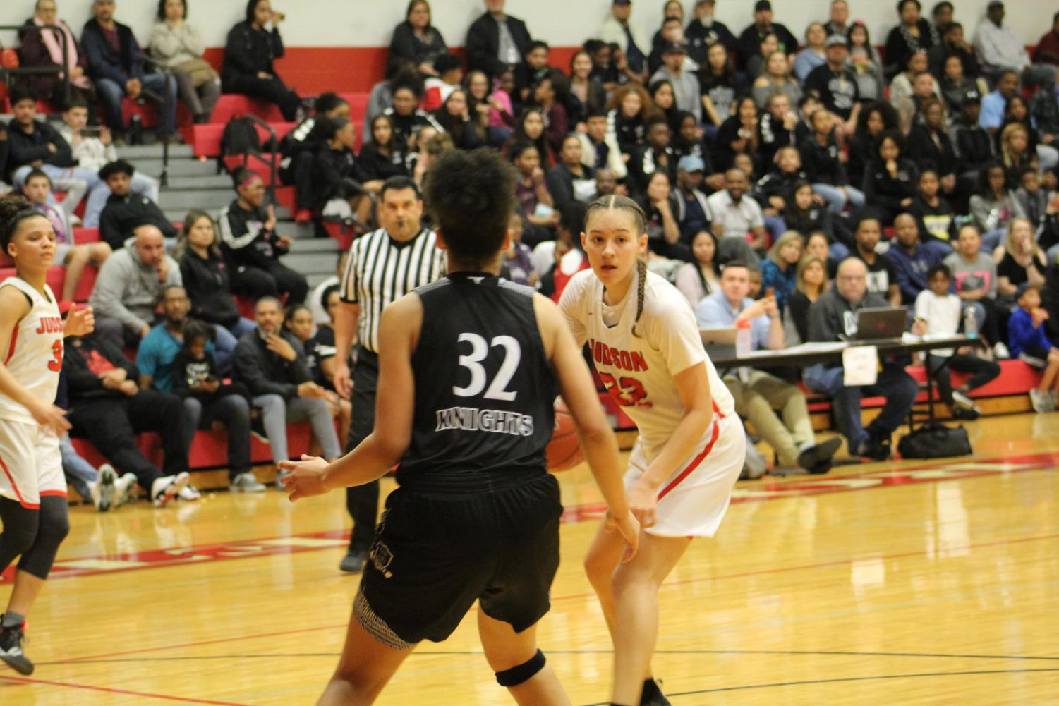 Senior Kyra White looks for the best pass possible. The Lady Rockets beat Steele 60-47.