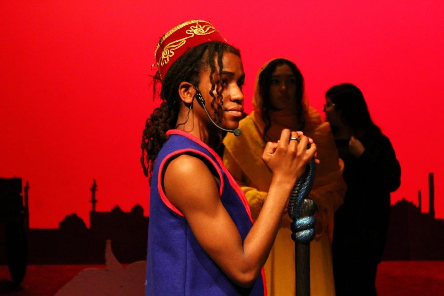 Lead+actor+Nathaniel+Cullors%2C+performs+his+role+as+Aladdin+in+the+Judson+theater+production+of+Aladdin+Jr.+While+preparing+for+his+role+in+Aladdin%2C+Cullors+also+had+to+rehearse+a+part+for+another+play.