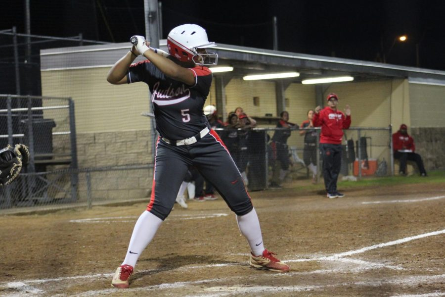 Senior Kellsie Ramos gets ready to hit a double over mid-field. Girls softball beat Steele 9-0.