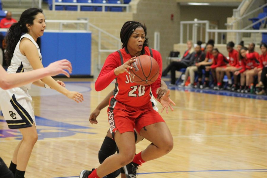 Sophomore Kierra Sanderlin shifts through the O'Connor defense looking to get to the basket. Rockets won 55-36.