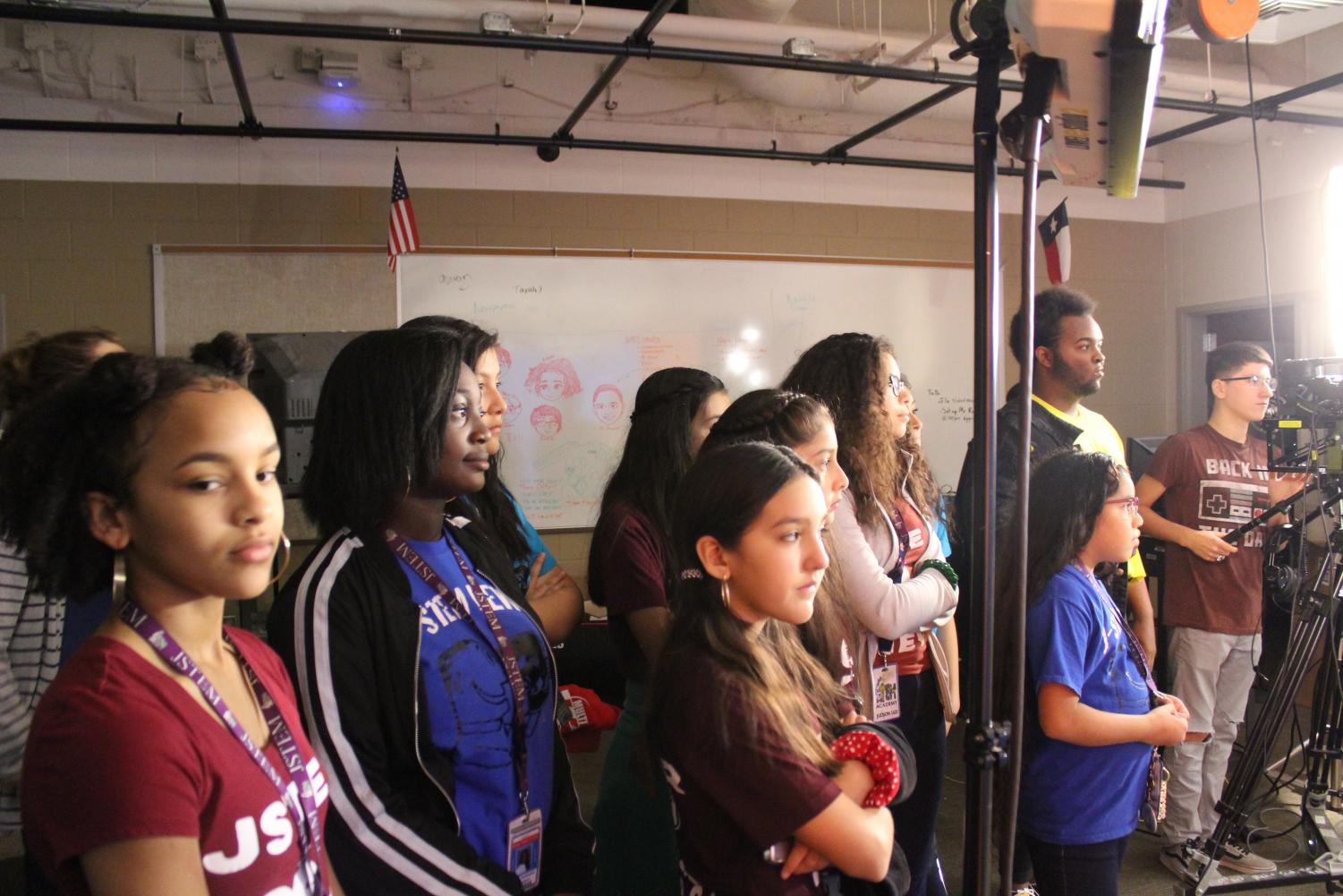 Judson Middle School students tour the A/V studio. The CATE cluster is in charge of producing various medias, including JRocketTV.