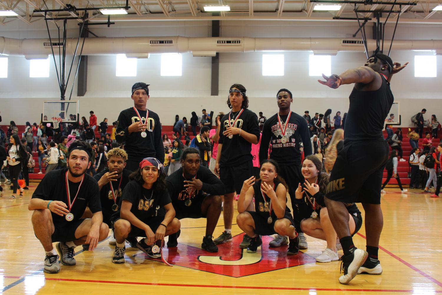 GSO poses with their medals after winning this year's dodge ball tournament. They beat 210 Showtime, 2-1.