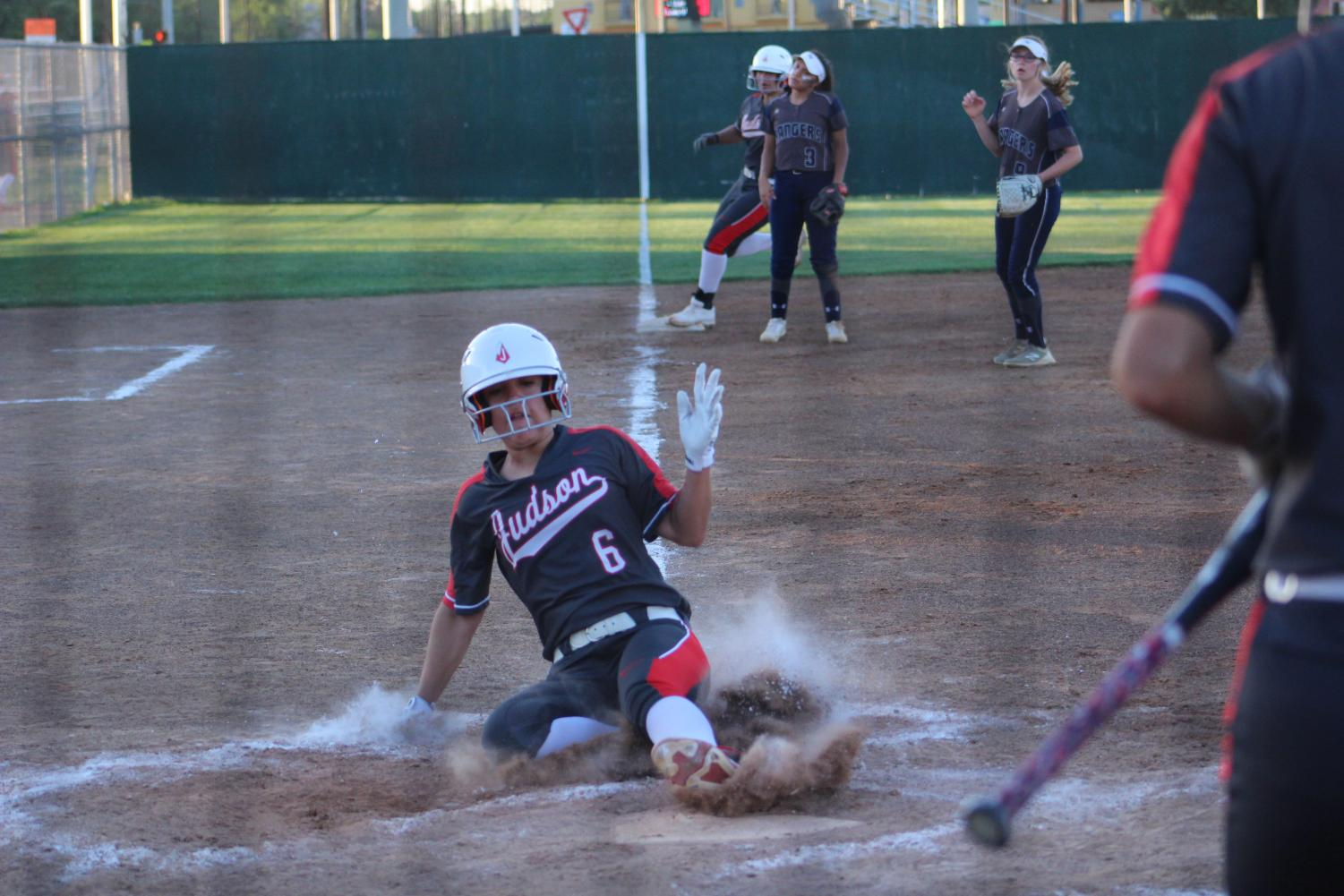 Senior Kadee Luna slides into home. The game was an exciting win over Smithson Valley,