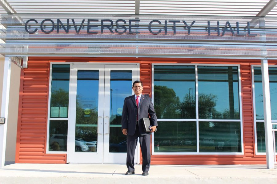 Mayor Suarez poses in front of the Converse City Hall. He is starting his 13th year in office.