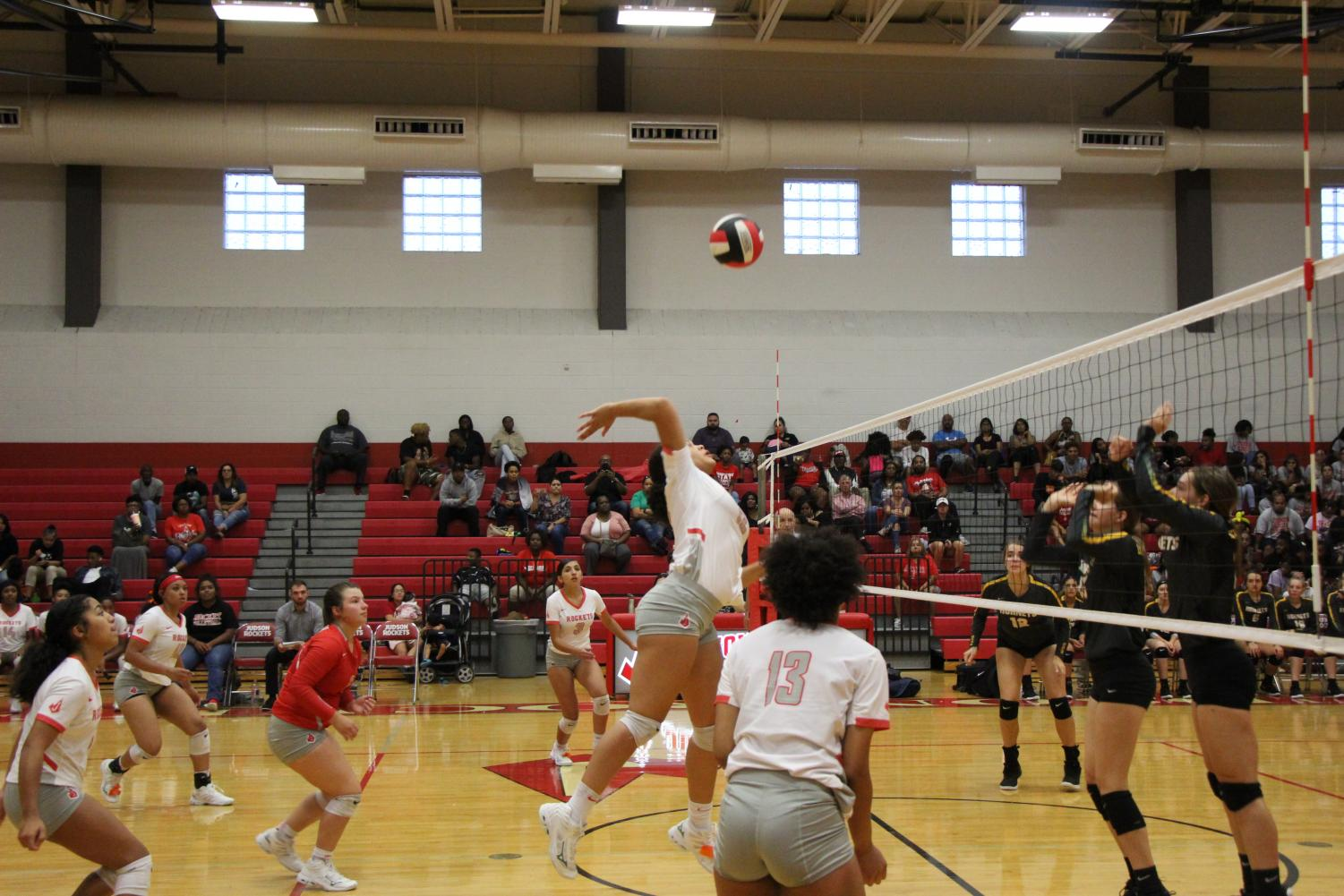 Junior Tatyanna Gladden spikes the ball towards the East Central defense. However, the Rockets fall to East Central 0-3.