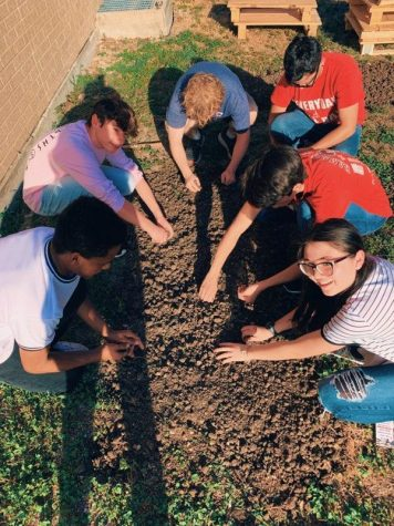 The new organization on campus, Model UN, prepares sod in the new community garden. The group hopes to open up the space to other organizations on campus.