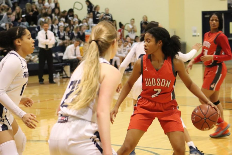 Senior Teanna Huggins drives the ball in, trying to make a basket. The Lady Rockets beat Smithson Valley, 57-49.