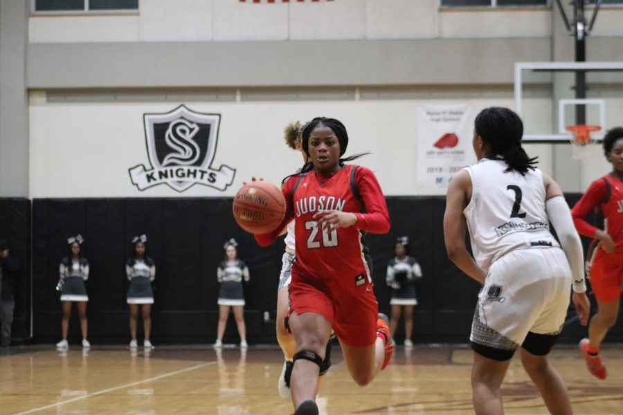Junior Kierra Sanderlin pushing the pace on the court during the game against the Steele Knights. The Rockets beat the Knights 68-44.