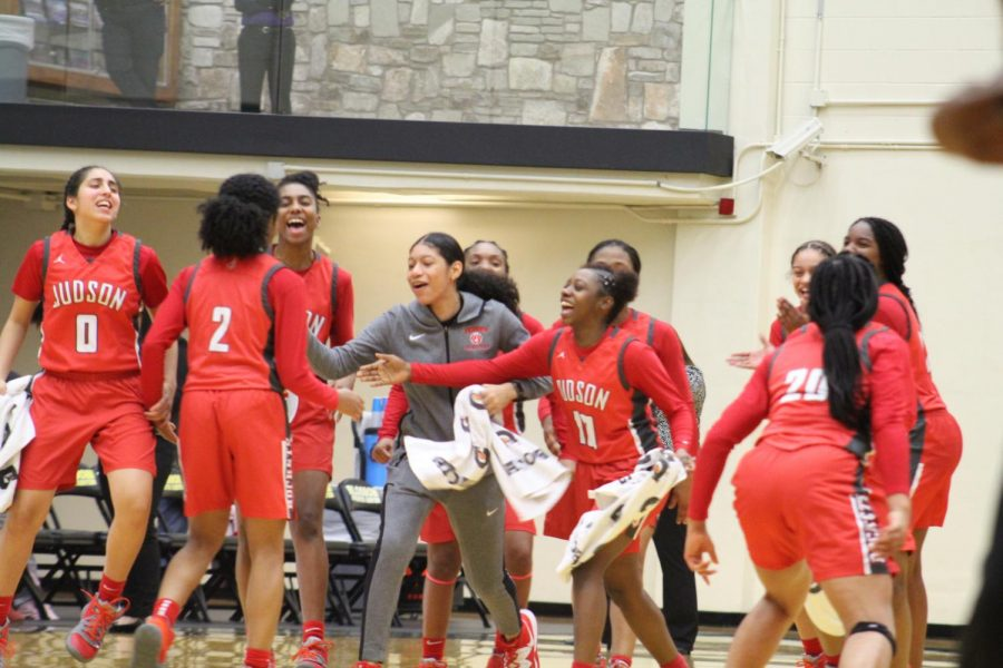 Girls basketball celebrates another win on their road to another state championship. They will play Tuesday, February 25, 2019, at UTSA.