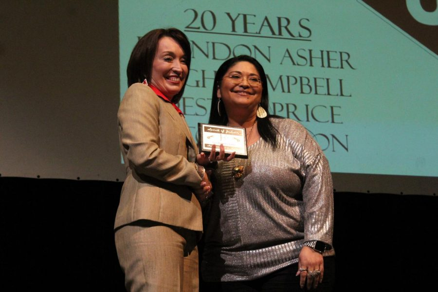Dr. Jeanette Ball (left) takes a picture with Mrs. Tina Ramirez-Tubbs during the annual educators ceremony.
