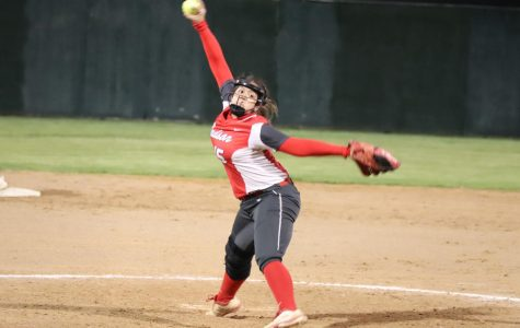 Junior Samara Sanchez pitches during the game against Reagan. Rockets beat the Rattles 10-0.