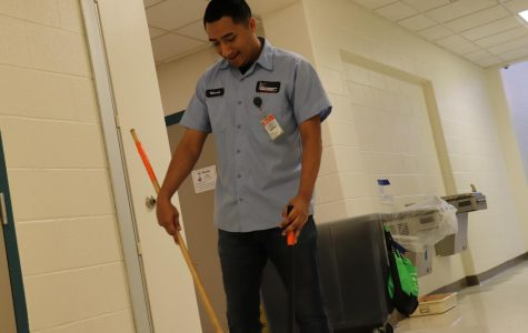 Custodian Steve Villareal works in the PAC to ensure that it is clean and safe.