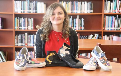 Sophomore Emily Clymer has her own business in designing shoes. She buys blank shoes and designs them in ways that her clients want.