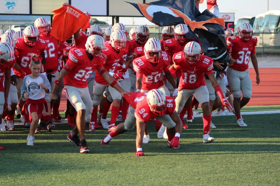 The Rockets run out during their game against Harlingen. The team will stay in UIL District 27-6A.