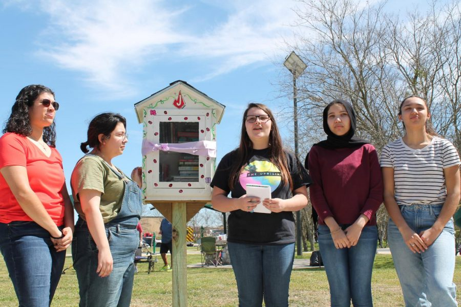 The Drama Club unveils the Little Free Library in Northampton Park.