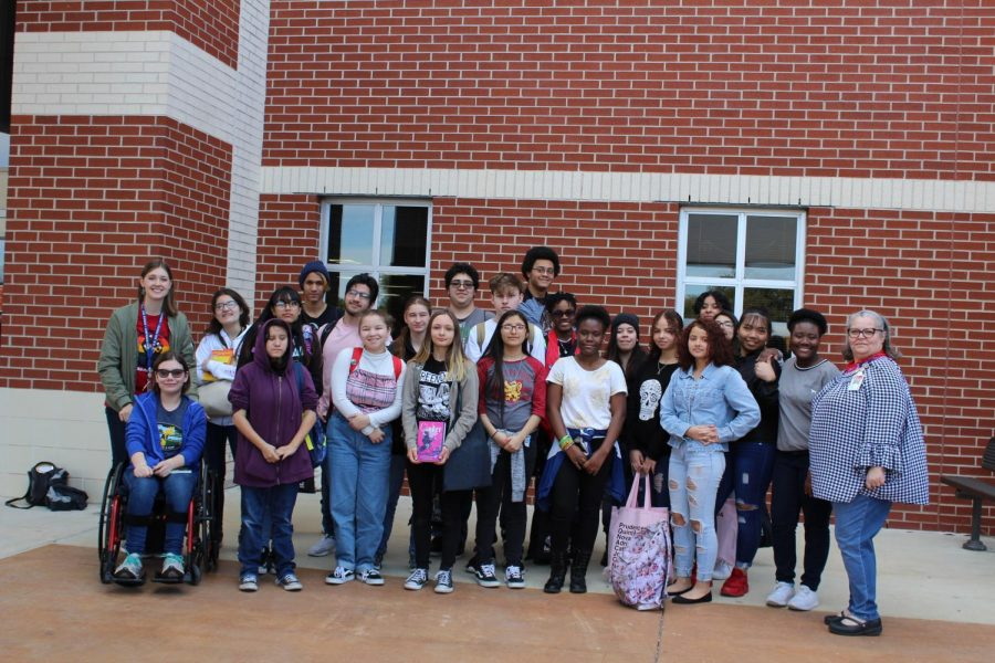 A group of about 20 students attend LibraryPalooza at Brandeis High School.  This was the largest group of the three high schools in the district.