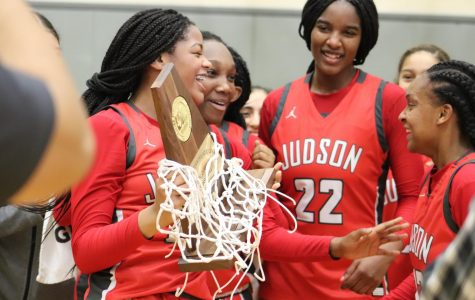 The girls celebrate their regional championship after beating Westlake, 50-47. This is Judson's fourth consecutive appearance at the state tournament.