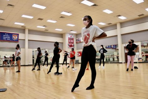 Diamond Major Nylah Andrews, First Lieutenant Azilen Weeks and Colonel Mideliz Rodriguez lead the Dazzlers Pep Squad during practice on October 2. All three dance groups have to adjust to new rules set forth by UIL.