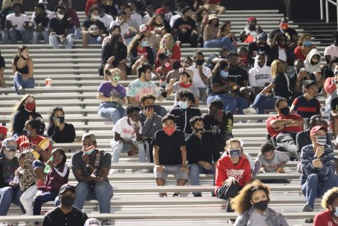Spectators watch the Rockets vs. Buffaloes game on Oct 25, 2020 at Rutledge Stadium. The district is requiring anyone on school property to have a mask on at all times, unless you are eating or drinking.