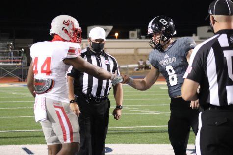 Senior Donnie Moody shows some sportsmanship to Steele