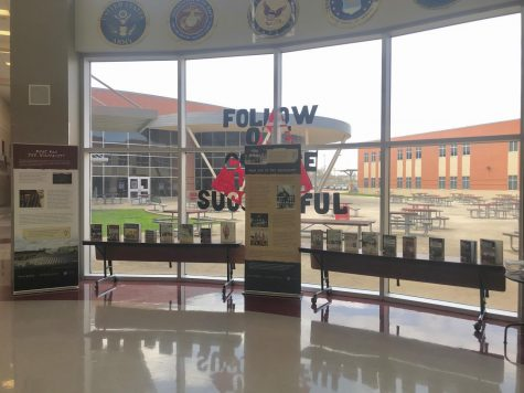 The pop up is set up in the middle of the Diamond J. It was a collaboration between the librarian and world history teacher, Mrs. Crystal Rohlke.