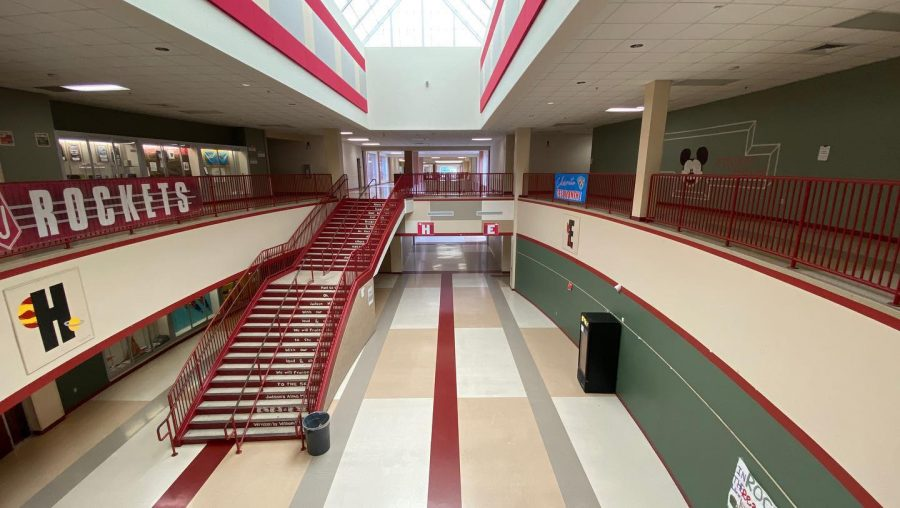 The hallways are shown emptied on March 18, 2020, as students were kept home after spring break. A year later, some students haven't return to campus.
