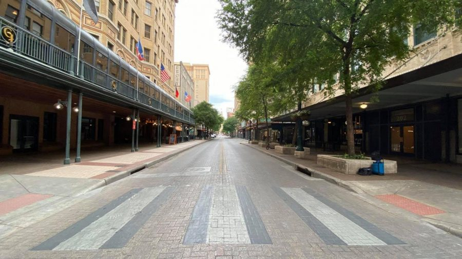 Houston Street is seen emptied on March 18, 2020. Most of the city shut down due to the virus.