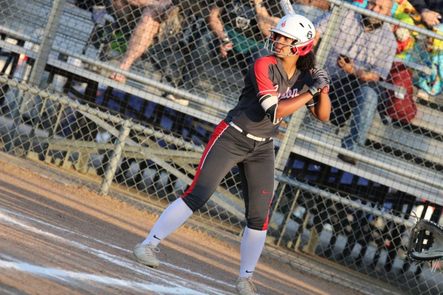 Junior Keely Williams goes up to bat during the game against Steele. She has already committed to play softball at Texas A&M University.