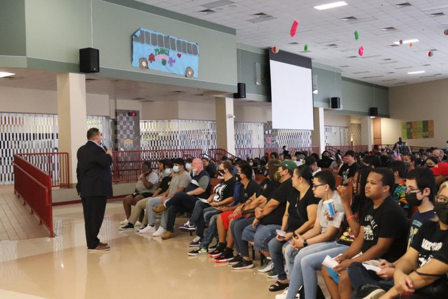 Principal Jesus Hernandez talks to the upcoming Class of 2025. He has lead the campus for over a decade.